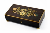 Handcrafted Sankyo 72 Note Music Box with Butterfly and Floral Inlay with Gold Leaf Accents