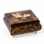 Handcrafted Tranquil Swans Inlay Wood Tone 18 Note Musical Jewelry Box