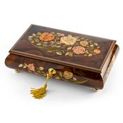 Handcrafted Walnut 18 Note Roses Inlay Musical Jewelry Box with Lock and Key *SUPER SALE