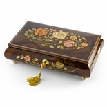 Handcrafted Walnut 22 Note Roses Inlay Musical Jewelry Box with Lock and Key