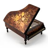 Handcrafted Wood Tone Floral Inlay 18 Note Piano Music Jewelry Box