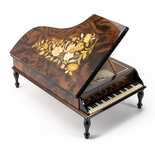 Handcrafted Wood Tone Music and Floral Inlay 36 Note Piano Music Jewelry Box