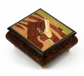 Handmade Italian Musical Jewelry Box with Graduation Theme Inlay