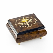 Harmonious Cross and Dove Sorrento Wood Inlay Music Jewelry Box