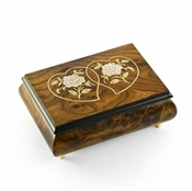 Harmonious Wood Tone Double Heart & White Roses Musical Jewelry Box