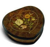 Heart Shaped Floral Wood Inlay Musical Jewelry Box