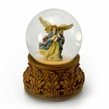 Heavenly Angel Playing Mandolin with Decorative Base Musical Water Globe