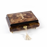 Holy Cross with Floral Motifs Wood Inlay 30 Note Musical Jewelry Box