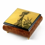 Iconic 22 Note Handcrafted Statue of Liberty Wood Inlay Musical Jewelry Box