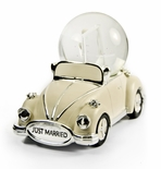 "Iconic ""Just Married"" Ivory and Silver VW Beetle with Photo Frame Musical Snow Globe"