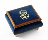 Iconic Royal Blue Lion and Crown Inlay Music Box
