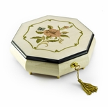 Immaculate Ivory Stain Octagonal Music Jewelry Box, Rose & Butterfly Inlay