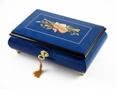 Impressive Royal Blue Instrument and Floral Wood Inlay 30 Note Musical Jewelry Box