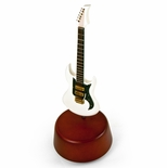 Incredible 18 Note Miniature White Electric Guitar with Rotating Musical Base