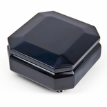 Modern Metallic Midnight Blue Beveled Musical Jewelry Box