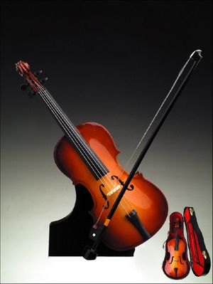 Incredible Brown Cello Music Box Figurine With A Stand