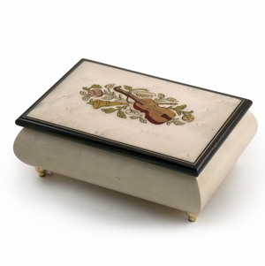 Incredible Ivory Italian Music Box with Violin and Floral Inlay