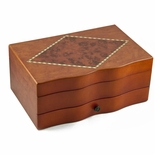 Incredible Spacious Curved Front Burl Top Jewelry Box with Mirror