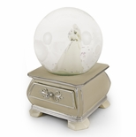 Incredible Wedding Couple Snow Dome with French Country Style Commode Base