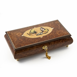 Handcrafted 22 Note Wood Tone Twin Butterfly Inlay Music Jewelry Box
