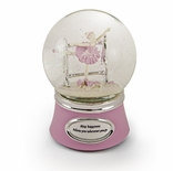 Inspiring Pink And Silver Animated Ballerina Snow Dome
