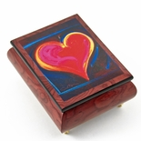 "Inspiring Red-Wine  Ercolano Painted Music Box Titled ""Heart Felt III"" by Simon Bull"