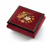 Inspiring Red Wine Music Theme with Violin Wood Inlay Music Box