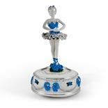 Inspiring Silver with Blue Accent of Roses and Ribbons Animated Ballerina Figurine