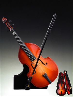 Irresistible Upright Bass Violin Music Box With A Stand