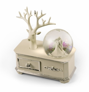 Ivory Wedding Couple Music Snow Globe with Silver Accented Commode and Ring Holder *NEW