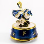 Jeweled Blue Jay Bird with Blue and Gold Accents Rotating Musical Keepsake