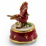 Jeweled Cardinal Bird with Red and Gold Accents Rotating Musical Keepsake