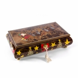 Jolly Santa Clause in Sleigh with Reindeers Wood Inlay 22 Note Christmas Musical Jewelry Box
