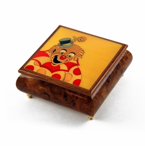 Joyful Clown with Polka Dot Custom Wood Inlay Musical Jewelry Box