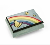 Joyful Light Blue and Wood Tone Butterfly and Rainbow Musical Jewelry Box