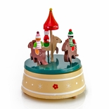 Kids Riding Reindeers Round and Round Musical Keepsake