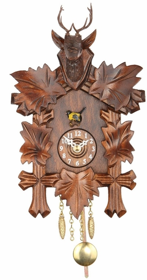 Kuckulino Black Forest Carved quartz Clock with Stag Head
