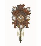 Kuckulino Black Forest Carved Style Quartz Clock with hand Painted Flowers