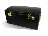 Large Black Embossed Crocodile Skin Domed Jewelry Box With Three Takeaway Cases
