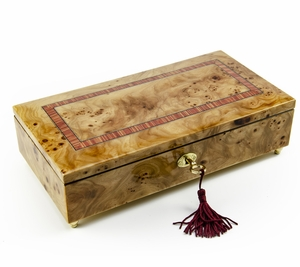 Lavish Hand Made Classic Style Music Jewelry Box with Lock and Key