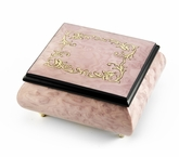 Lovely Light Lavender / Pink Music Box with Arabesque Wood Inlay