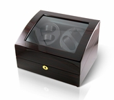 Luxurious 4 + 6 Dual Rotor Watch Winder with Carbon Fiber Interior and gold accents