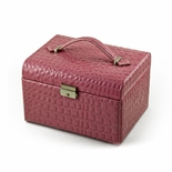 Luxurious Pink Croc Skin Faux Leather Multi-Tier Jewelry Box With Lock