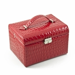 Luxurious Red Croc Skin Faux Leather Multi-Tier Jewelry Box With Lock