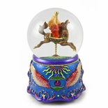 Magical Pegasus Carousel Horse Animated Water globe With Eclectic Carnival Themed Base