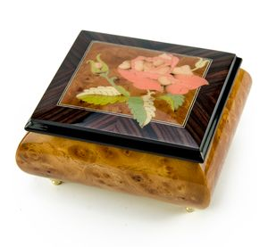 Magnificent Single Pink Rose Musical Box From Sorrento, Italy