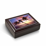 Majestic Palm Trees Florida Sunset Tile Musical Jewelry Box