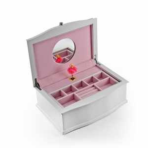 Matte White 18 Note Ballerina Musical Jewelry Box with Pull Out Tray