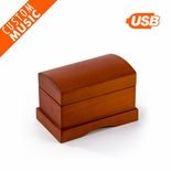 Matte Wood Tone Treasure Chest Custom USB Sound Module Music Box