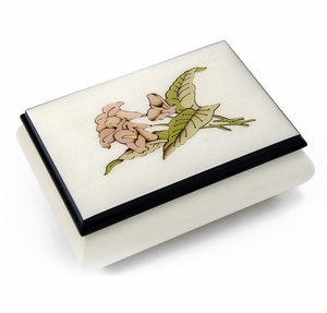 Incredible Cream Stained Italian Music Box with Lilies Wood Inlay